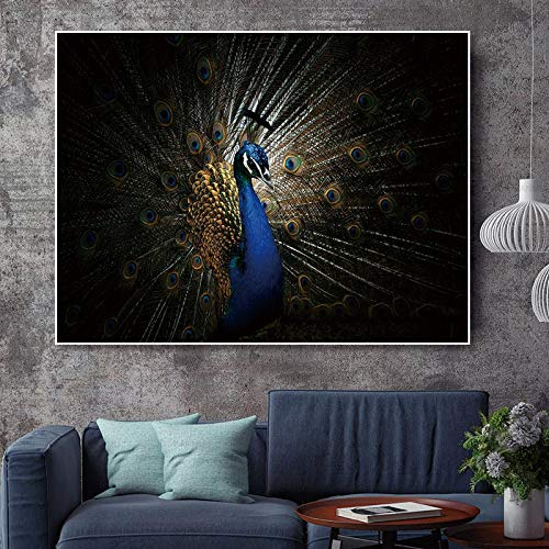 Leinwand wandkunst Bild pfau Dekoration Poster Kunst Animal Print auf leinwand für Wohnzimmer wanddekoration rahmenlose malerei 30X40 cm