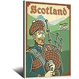 Vintage-Reise-Poster, Schottland-Tasche, Piper, Leinwand,
