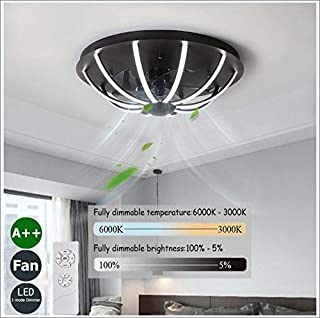Ventilador De Techo Con Luz Y Mando LED Velocidad Viento Ajustable Regulable Ventilador De Techo Infantil Ventilador De Techo Con Luz Inspire 160W,60cm(black)