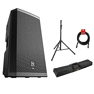 """Electro-Voice ZLX-12BT 12"""" 2-Way 1000W Bluetooth Powered Loudspeaker (Black) with Steel Speaker Stand, Stand Bag 51"""" and XLR Cable Bundle from Electro-Voice"""