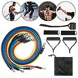 Bandas de resistencia Haisito, 11 piezas de bandas de ejercicio con asa, equipo de gimnasio en el hogar, con 5 tubos, 2 agarres de mano y 2 correas para el tobillo, bolsa de transporte