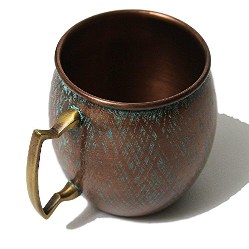 Copper Mug with Antique Patina Blue Finish - Perfect for Moscow Mules - 100% Pure Copper Cup by Alchemade - 16 OZ