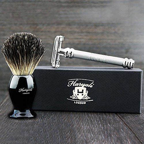 Haryali London assemblato a mano argento doppio bordo rasoio di sicurezza farfalla & nero. Pennello per rasatura