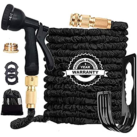 Flexible Garden Hose Pipe 100FT, 3 Times Expanding Flexible Magic Lightweight Watering Hose pipe with 8 Function Spray Gun/Solid Brass Fittings/Anti-leakage Easy to use(Black)