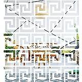 40 Piezas Pegatinas Adhesivas de Espejos Calcomanías Adhesivas Extraíbles de Pared para Decoración de Hogar Dormitorio Sala de Estar Patrón de Clave Griega Geométrica