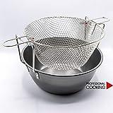 Professional Cooking Friggitrice pentola per fritture in Ferro Spazzolato con cestello in Rete Metallica (cm. 32)