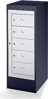 Armoire pour ordinateurs portables - 5 compartiments - gris noir et gris clair - rangement pour PC - verrouillable - sécurité