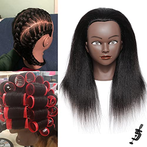Mannequin Head with Human Hair Manikin Head 14 inch 100% Real Hair Cosmetology Training Head Mannequin Head Stand Practice Head Doll Head for Hair Styling with Free Clamp Stand