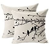 Jahosin Juego de 2 fundas de almohada con diseño vintage de pájaros, color negro, 45,7 x 45,7 cm (ramas negras)