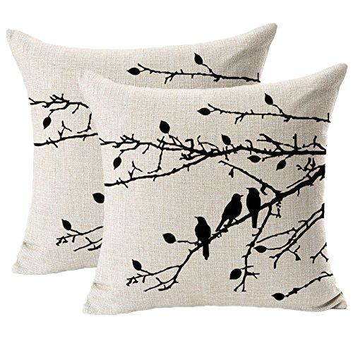 Jahosin Set mit 2 Kissenbezügen, Muscheln, Vintage-Stil, Vögel, Zweige, schwarz, dekorativer Kissenbezug, 45,7 x 45,7 cm (schwarze Zweige)