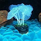 2 Pezzi di Acquario Fish Tank Ornament, Foglie di Loto Effetto Luminoso, Anemone di Mare per Acquario, Decorazioni in Silicone Incandescente, Artificiale Decorazione per Acquario, Acquario Decorazioni
