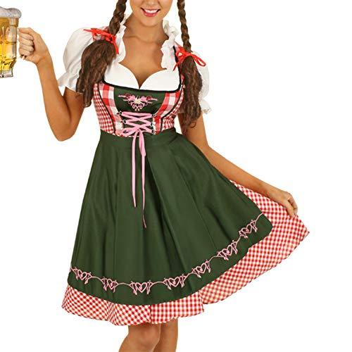 Naduew Vestido de Dirndl de Oktoberfest Alemán, para Mujer Vestido Sexy, Disfraz de Sirvienta de Cerveza Bávara