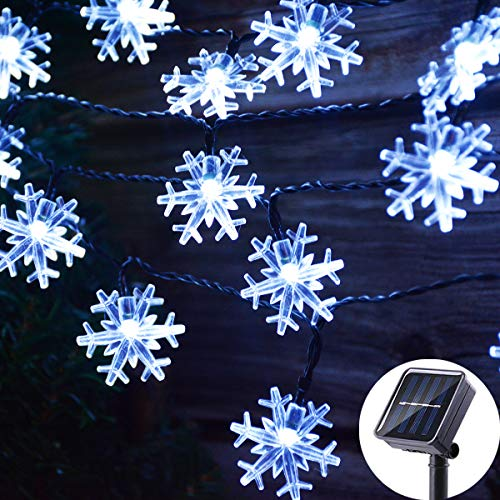 Viewpick 50 LED Solar Christmas Lights Outdoor Cool White Christmas Snowflake String Lights, Solar Powered LED Fairy Lights Xmas Tree Snowflake Decor Light for Party Patio Garden Roof Window Decor