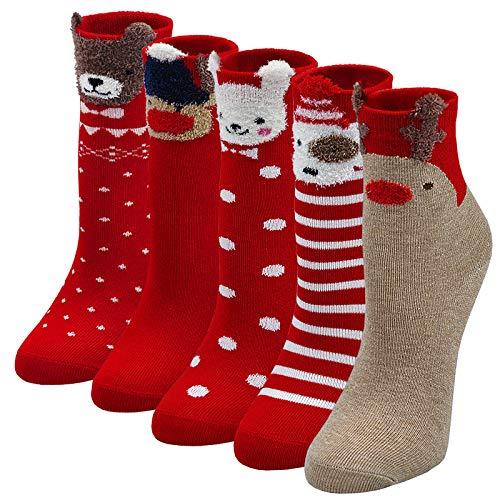 LOFIR Calcetines de Navidad para niños, Medias para Navidad, Calcetines con Papá Noel,...