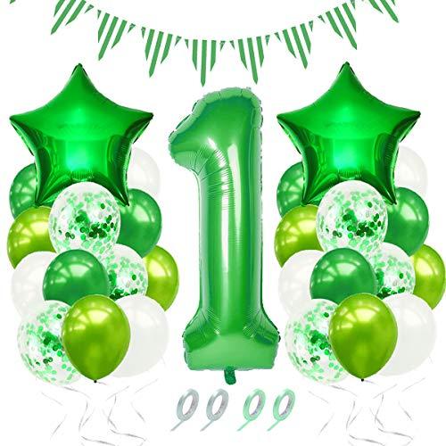 Luftballon 1. Geburtstag,1.Geburtstag Baby Dekoration,Geburtstagsdeko Junge 1 Jahr, Geburtstag 1 Jahr Deko Luftballon Grün Konfetti Helium Set,Grün Deko zum Geburtstag für Kinder, Junge, Mädchen