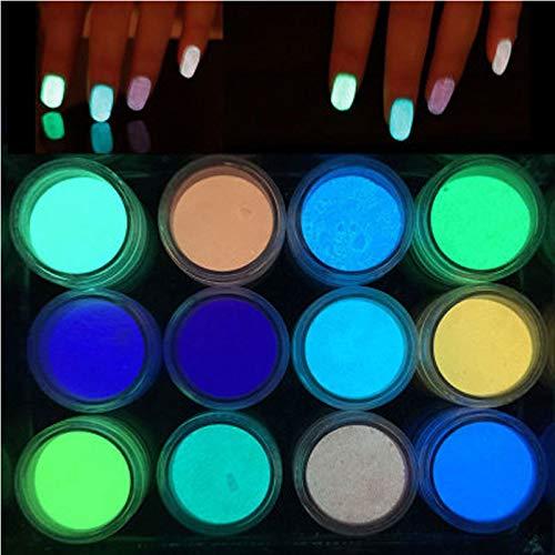 Oulensy 6gFluorescent PigmentSlime Suministros Fosforescente Limo Polvo de Relleno PaintGlitter neón Fósforo Polvo de uñas-Glit