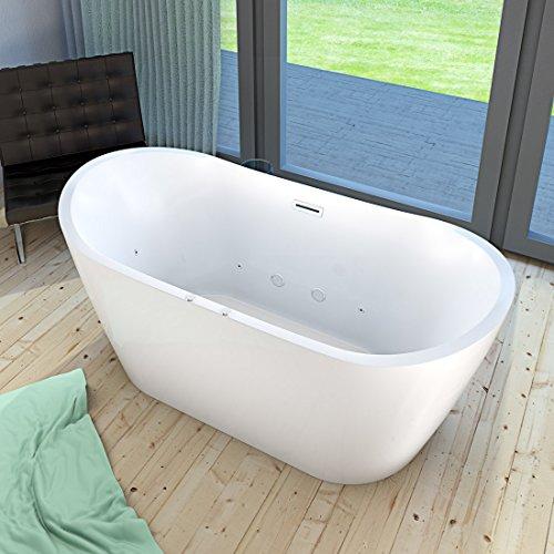 AcquaVapore freistehende Badewanne FSW23 180cm Whirlpool Luft & Wasser, Armatur:ohne Armatur +0.-EUR