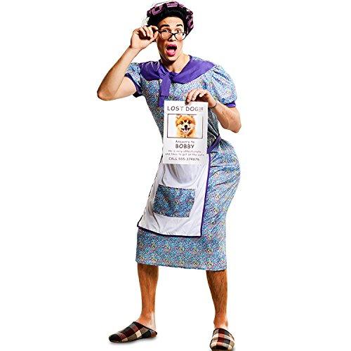 EUROCARNAVALES Herren Kostüm verzweifelte Oma Sucht Hündchen Gr. M/L Hausfrau Dicke Oma Karneval Spasskostüm Joke