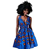 OBEEII Femme Africaine Robe Bohème Élégant 4D Imprimer Multi-Way Bandage Dress Bandage Dashiki Costume Ethnique Traditionnel pour Soirée Cocktail Demoiselle d'honneur Prom Fête S