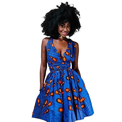 OBEEII Femme Africaine Robe Bohème Élégant 4D Imprimer Multi-Way Bandage Dress Bandage Dashiki Costume Ethnique Traditionnel pour Soirée Cocktail Demoiselle d'honneur Prom Fête S