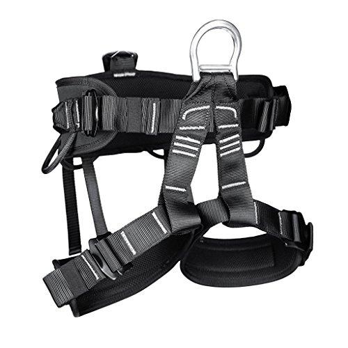 Professionelle Klettergurte Sicherheitsgurt Baumpfleger mit Einstellbar Taille für Bergsteigen Klettern Outdoor Schwarz