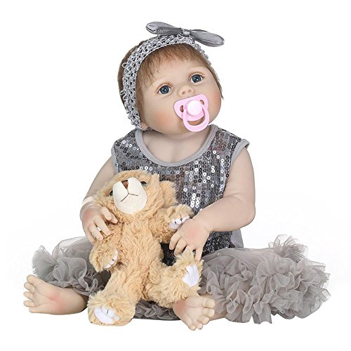 Muñeca de bebé realista con cuerpo de silicona,