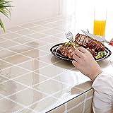 KINLO Glasklar Folie 2mm Dick- 80x120cm - PVC Transparent Tischfolie Abwaschbar Tischschutz Folie Wasserdicht Tischdecke Durchsichtig Table Protector Rechteckig Tischschutzfolie mit Abgerundete Ecken - 6