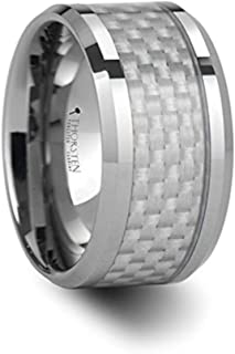 ROCKFORD White Carbon Fiber Inlay Tungsten Carbide Ring - 12mm - FREE Engraving