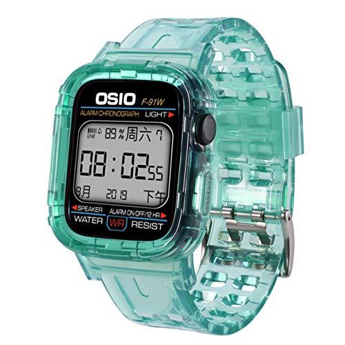 Kompatibel mit Apple Watch Armband 44mm 42mm 40mm 38mm, Transparent Weiche Silikon Sport Ersatz Armband kompatibel iWatch Series 5, Series 4, Series 3, Series 2, Series 1,Ice + Green,44mm