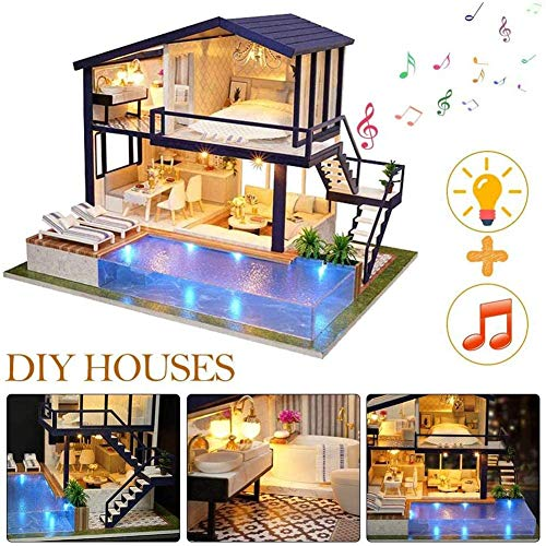 Bricolage Dollhouse, LED et Musique 3D Poupée Mini Assemblée Maison en Bois Toy Cuisine Salle de Bain Meubles Fun Kit Assembled Toy Cadeau