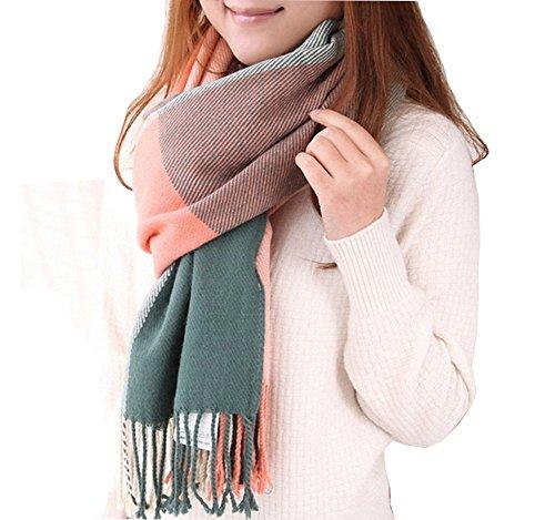 Seogva Damen Schals Kaschmir Foulard mit einem armband groß rechteckig Spitz Schal Halstuch Oversized (pink und grün)