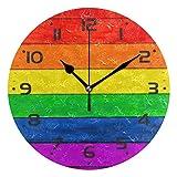 ZZKKO Rainbow Stripe Wall Clock Quartz Analog Quiet, 9.5 Inch Round Desk Clock Battery Operated Easy to Read Decorative for Kitchen Bedroom Bathroom Living Room Classroom