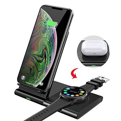 MoKo Qi Cargador Inalámbrico Rápido, 2 en 1 10W Carga Base Fast Wireless Charger Duo para iPhone 11/Pro Max/XR/8/AirPods Pro/2, Samsung S20/S10/S9/Galaxy Watch Active 1/2/Watch 42/46mm/Gear S3/Buds+