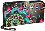 styleBREAKER Monedero con Motivo de Flores étnicas y floración, diseño Vintage, Cremallera, Mujeres 02040040, Color:Negro-Gris-Rosa-Verde-Turquesa