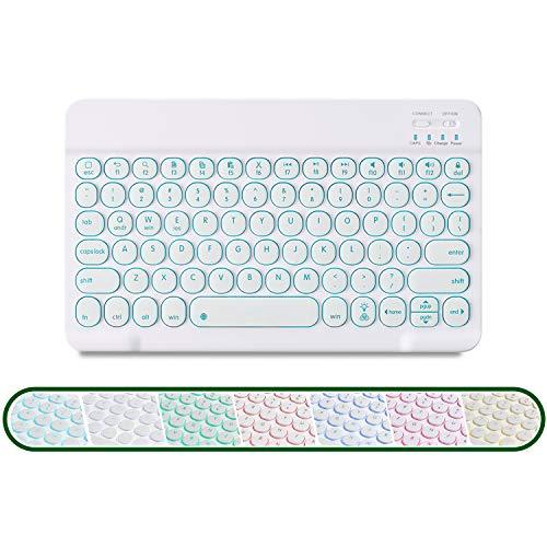 GECENinov Kabellose Beleuchtete Tastatur,Bluetooth Tastatur, tragbare ultradünne kabellose Tastatur mit 7 Hintergrundbeleuchtungen, aufladbare Bluetooth Tastatur, für IOS、Android、Windows System.