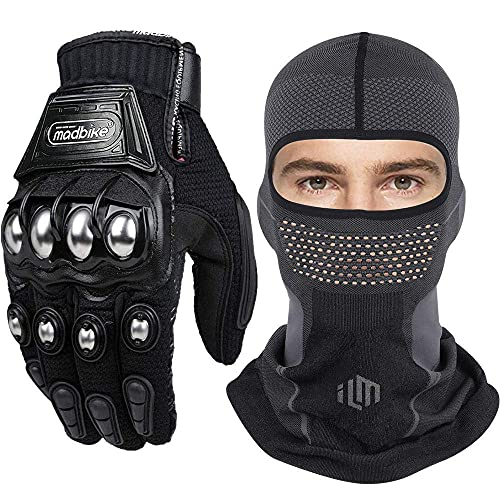ILM Steel Knuckle Motorcycle Racing Touchscreen Gloves and Breathable Face Mask Balaclava Bundle