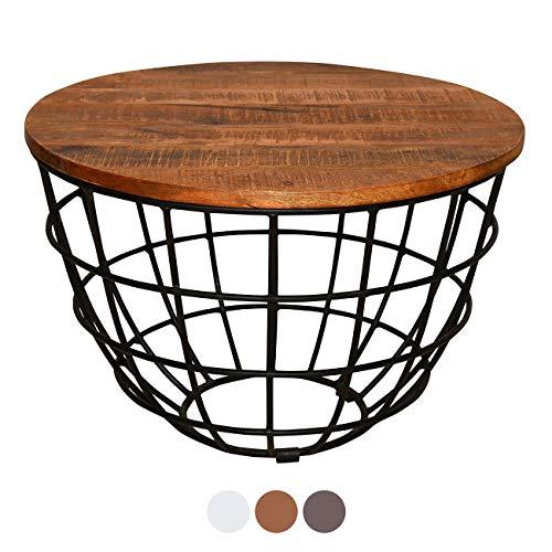 ANTARRIS Couchtisch mit Holz-Platte sägerau, stylisch Design Wohnzimmer-Tisch Lexington rund ø 60x60 cm Metall-Gestell Echtholz versch Farben (Hellbraun)