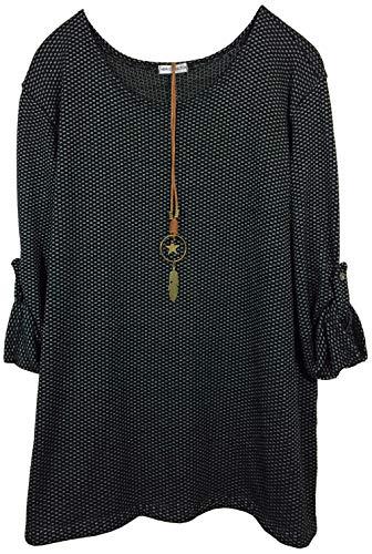 K-Milano Damen Sweatshirt, Tunika, Strukturstrick, mit Leder-Halskette und Anhänger, Made IN Italy