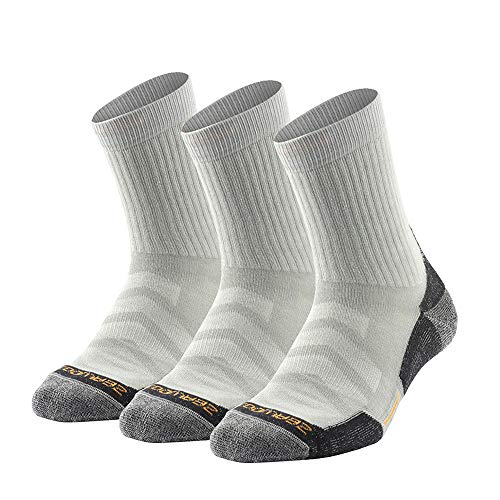ZEALWOOD Men's 3 Pairs Crew Socks, Cushion Sport Cotton Breathable Wicking Athletic Hiking Socks for Men and Women, Gray, UK 8-10.5