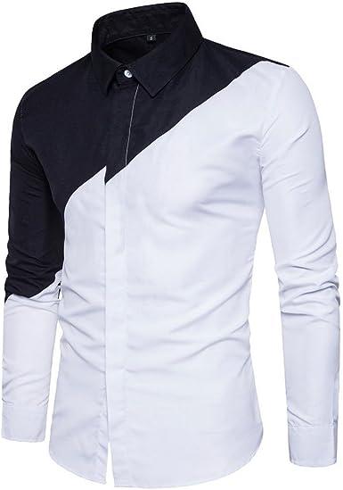 Usopu Camisa de Manga Larga Casual Blanca con Cuello en Color ...
