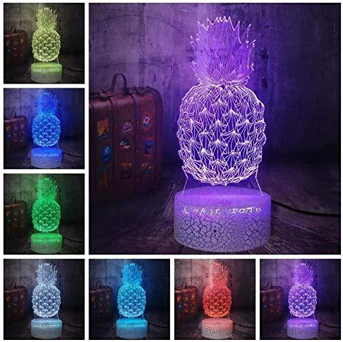 3D Ilusión óptica LED Luz de noche 3D Piña Luz de noche LED Ilusión colorida Lámpara de escritorio de mesa Bebé Niños Lámpara de sueño 16 Control remoto que cambia de color-7 colores + toque
