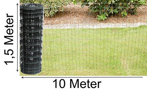 Schweißgitterzaun als Gartenzaun Wildzaun Gitterzaun in grau anthrazit 1,0 m - 1,5 m hoch Zaungitter Zaundraht Gitterdraht Drahtgitter Maschenzaun (1,5 m hoch 10 m lang)