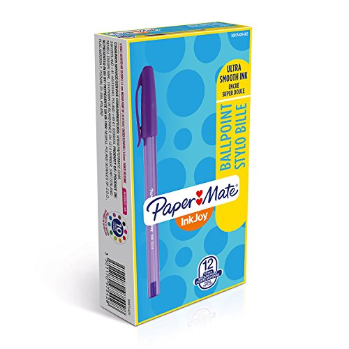 Papermate InkJoy 100ST Penne a Sfera con Cappuccio, Punta Media da 1.0 mm, Scatola da 12, Colori Assortiti
