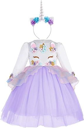 Vestito Principessa Unicorno Bambina,per Fiore Ragazze Set di Abiti per Feste Unicorno Arcobaleno Elegante Tutu Floreale Cerimonia Carnevale Compleanno Comunione Halloween Natale Sera Pageant Costume