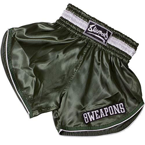 8 Weapons Muay Thai Shorts, Retro, Olive, XL