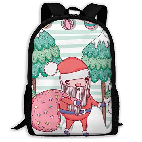 XCNGG Erwachsenen-Vollformat-Druckrucksack Lässiger Rucksack Rucksack Schultasche Santa Claus with Pine Tree and Balls Large Capacity Travel Computer Backpack, Adult Printed Backpack, Anti Splash Stud