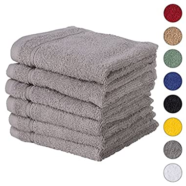 6 PACK Washcloth Towels Set   Premium Quality Luxury Turkish Cotton Absorbent AND Super Soft - SILVER GREY