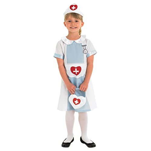 Girls Wartime Nurse Fancy Dress Up Party Costume Child Outfit New Age 5-7yrs