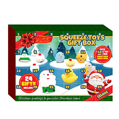 Advent Calendar 2020 Christmas Countdown Calendar 24Pcs Different Mochi Squichy Toys Cute Animals Squichies Christmas Party Favors for Girls Boys (1PC-A)