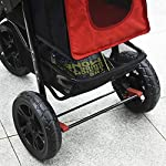 PawHut Folding Pet Stroller 3 Wheel Dog Jogger Travel Carrier Adjustable Canopy Storage Brake Mesh Window for Small Medium Dog Cat Red 15